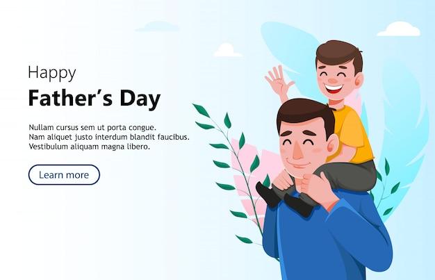 Feliz día del padre saludo banner Vector Premium