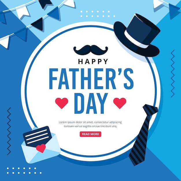 Feliz dia del padre con sombrero y corbata Vector Premium
