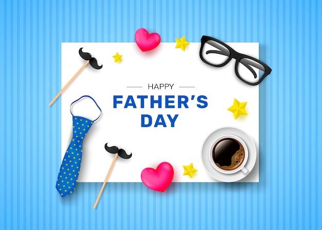 Feliz día del padre. tarjeta de felicitación con la inscripción, una taza de café, una corbata y gafas. Vector Premium
