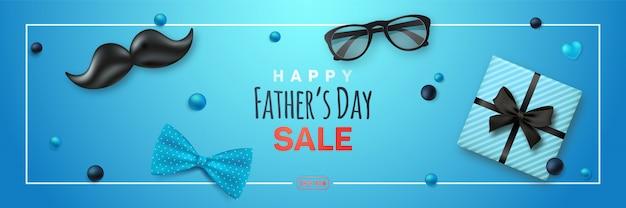 Feliz día del padre venta banner. Vector Premium