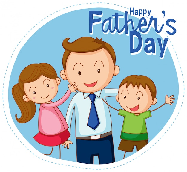 Un feliz dia del padre. vector gratuito