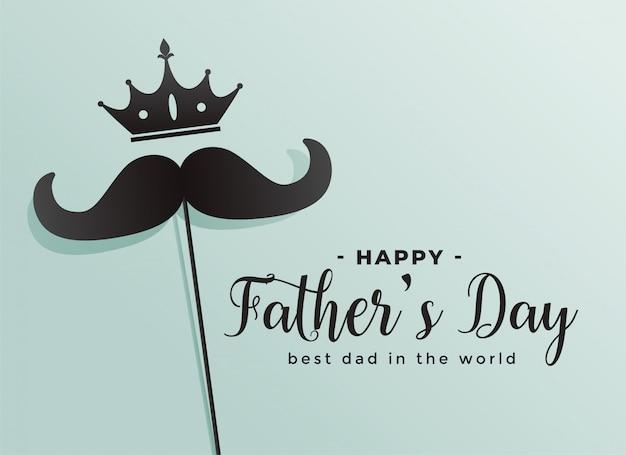 Feliz día de padres corona y fondo de bigote vector gratuito