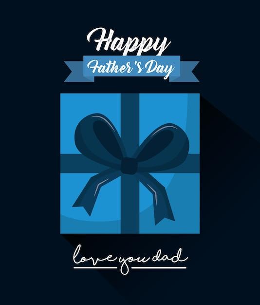 Feliz día de los padres te amo papá vista superior caja de regalo cinta Vector Premium