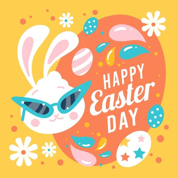 Feliz día de pascua con conejito y huevos vector gratuito