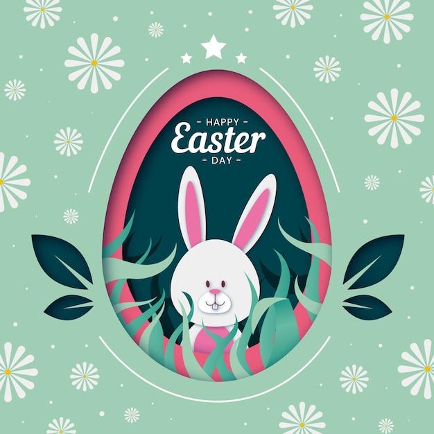Feliz día de pascua huevo fondo en papel estilo Vector Premium