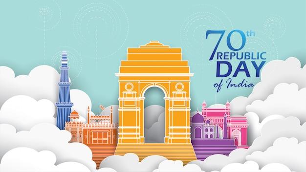 Feliz dia de la república india Vector Premium