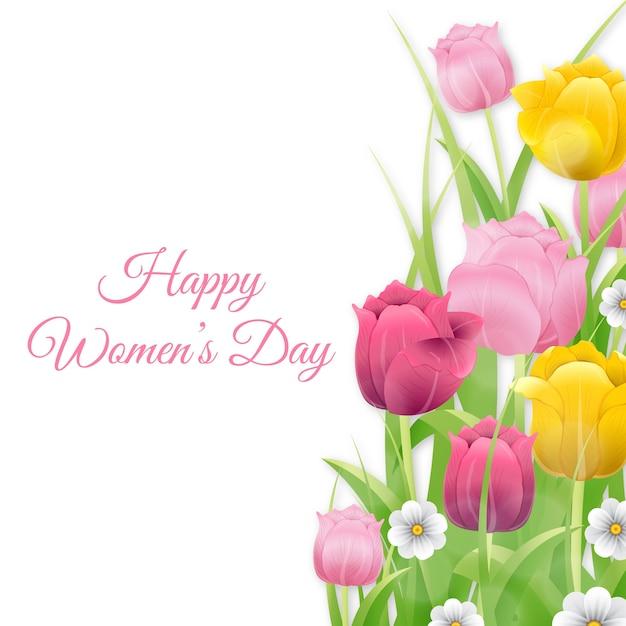 Feliz día de san valentín con coloridos tulipanes vector gratuito