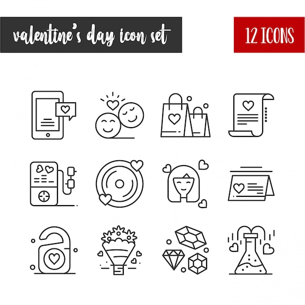 Feliz día de san valentín conjunto de iconos de contorno 12 Vector Premium