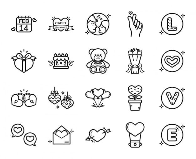 Feliz día de san valentín conjunto de iconos Vector Premium