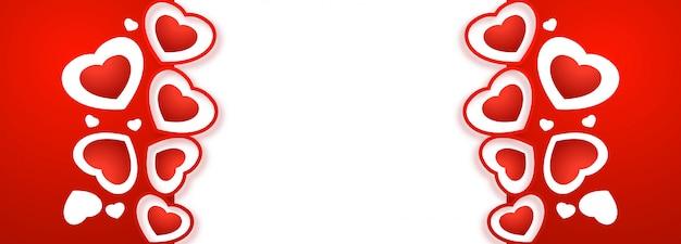 Feliz día de san valentín corazones creativo diseño de banner vector gratuito