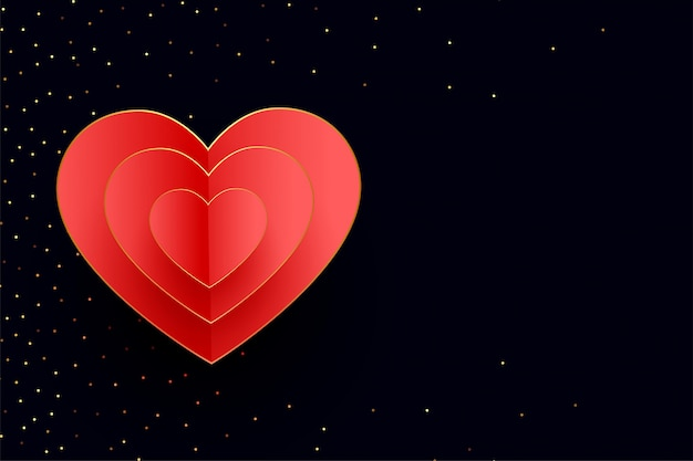 Feliz día de san valentín corazones fondo con brillo dorado vector gratuito