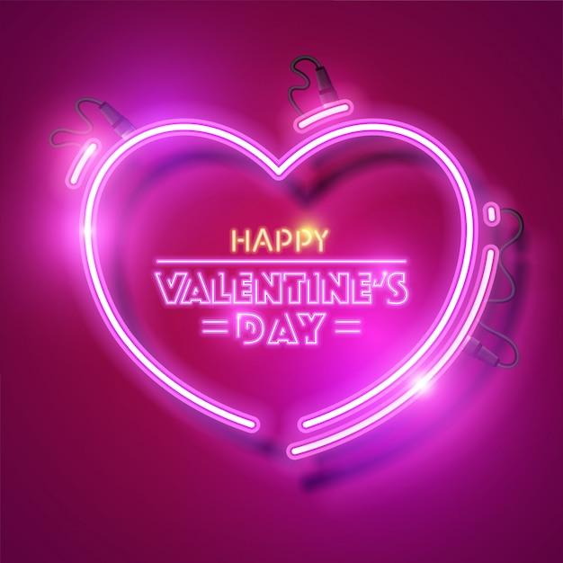 Feliz dia de san valentin con diseño de neon. Vector Premium