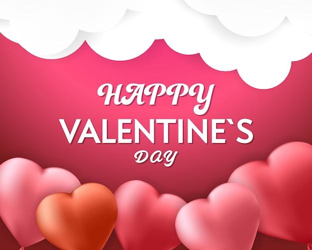 Feliz día de san valentín fondo rosa banner Vector Premium