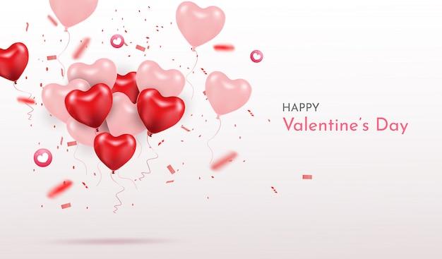 Feliz día de san valentín. globos de corazón realista 3d con brillos. amor temporada banner, saludo y tarjeta. Vector Premium