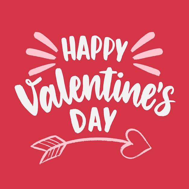 Feliz día de san valentín letras con flecha de cupido Vector Premium