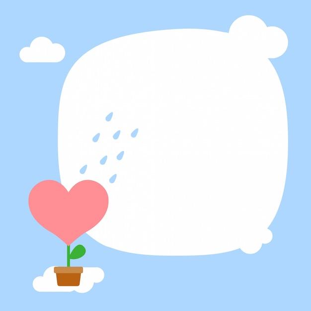 Feliz Día De San Valentín Lluvia En La Planta De Flor De Corazón