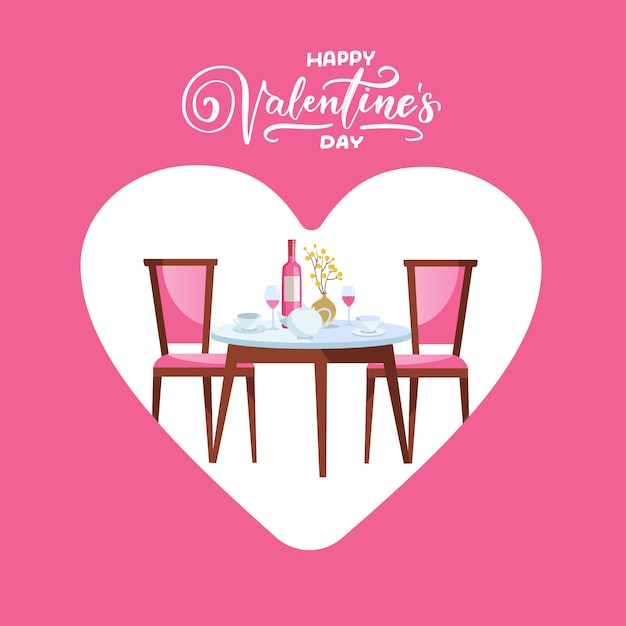 Feliz día de san valentín mesa de restaurante con corazón. Vector Premium