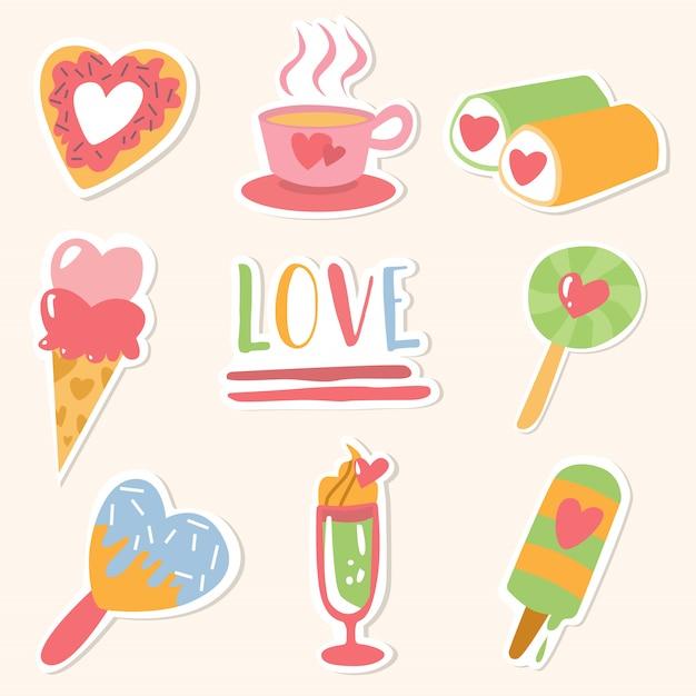 Feliz día de san valentín paquete de pegatinas de amor Vector Premium