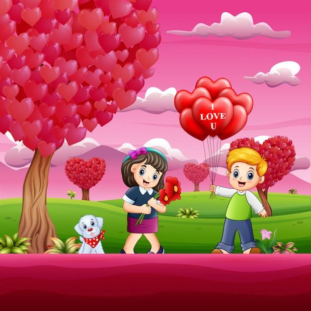 Feliz día de san valentín con la pareja niño en el jardín rosado Vector Premium
