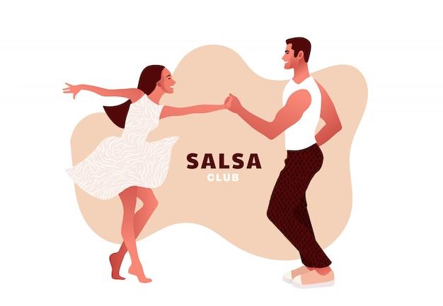 Feliz día de san valentín. salsa en la ciudad. baile callejero. hermosa pareja bailando. personas enamoradas. Vector Premium