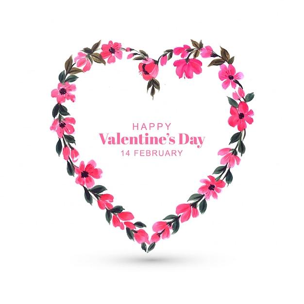 Feliz día de san valentín tarjeta de felicitación de flores coloridas con corazón vector gratuito