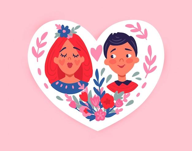 Feliz día de san valentín. tarjeta de felicitación con linda pareja, corazones, flores. Vector Premium