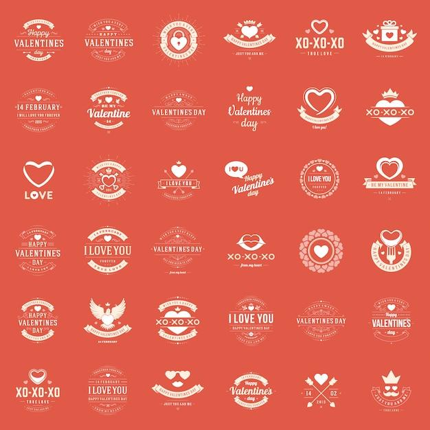 Feliz día de san valentín tarjetas de felicitación, etiquetas, insignias Vector Premium
