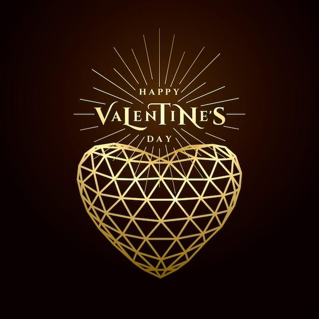 Feliz día de san valentín, texto de tipografía de saludo dorado. triángulo línea cuadrícula corazón de oro aislado vector gratuito