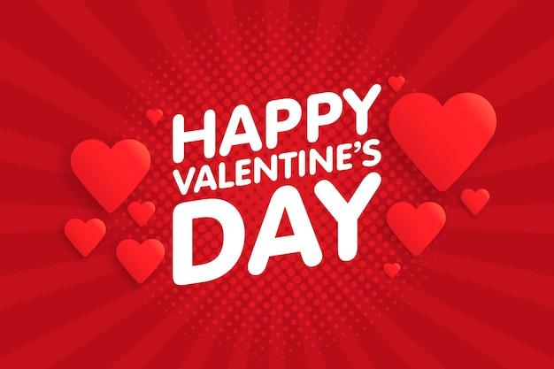 Feliz día de san valentín vintage tarjeta de felicitación. fondo con corazones Vector Premium