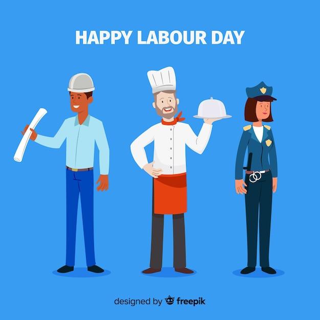 Feliz día del trabajador fondo vector gratuito