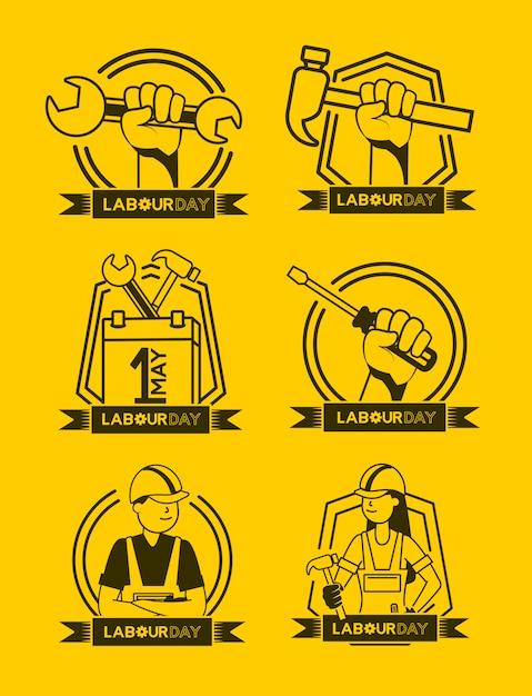 Feliz día del trabajo conjunto de ilustración de iconos de trabajo vector gratuito