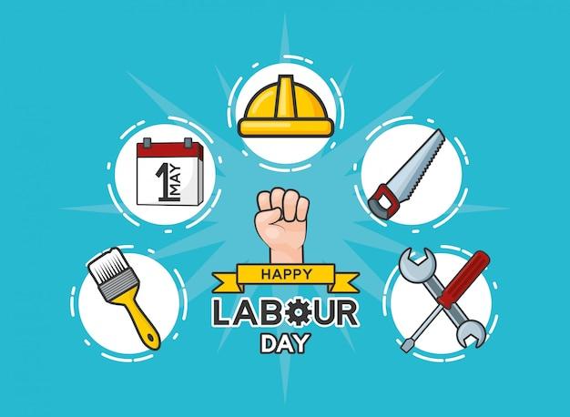 Feliz día del trabajo conjunto de la ilustración de objetos de trabajo del día del trabajo vector gratuito