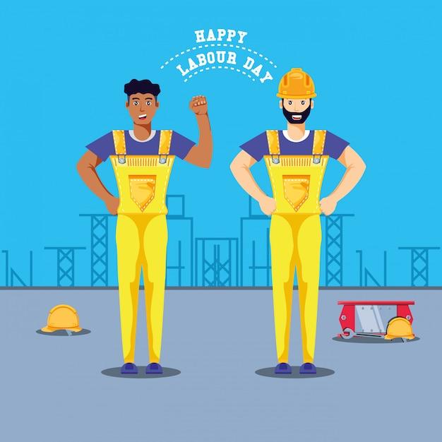 Feliz día del trabajo con trabajadores de la construcción. Vector Premium