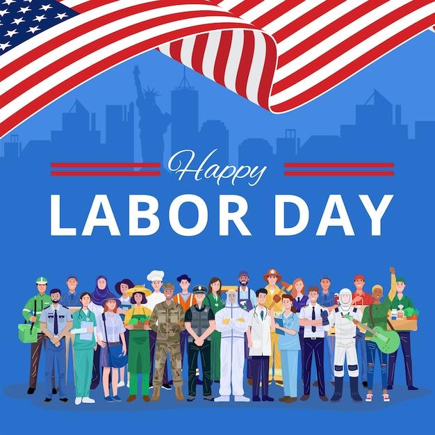Feliz día del trabajo. varias ocupaciones personas de pie con bandera estadounidense. Vector Premium