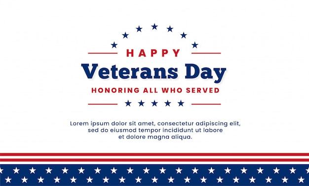 Feliz día de los veteranos en honor a todos los que sirvieron, diseño de plantilla Vector Premium