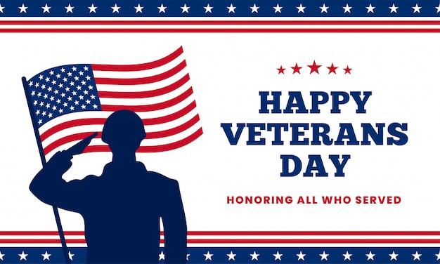 Feliz día de los veteranos en honor a todos los que sirvieron. silueta de saludo militar de soldado con la bandera de estados unidos américa detrás de ilustración vectorial. Vector Premium