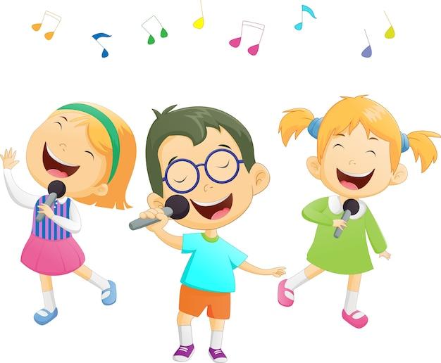 Dibujos Caras De Niños Felices Animadas: Feliz De Dibujos Animados Niños Y Niñas Cantando