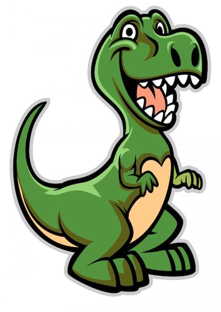 Feliz, dinosaurio, caricatura Vector Premium