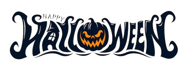 Feliz diseño de texto de halloween Vector Premium