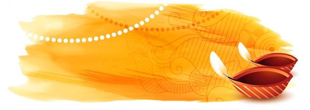 Feliz diwali acuarela banner con espacio de texto vector gratuito