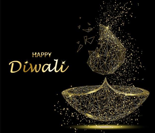Feliz diwali deepavali festival de luz y fuego. Vector Premium