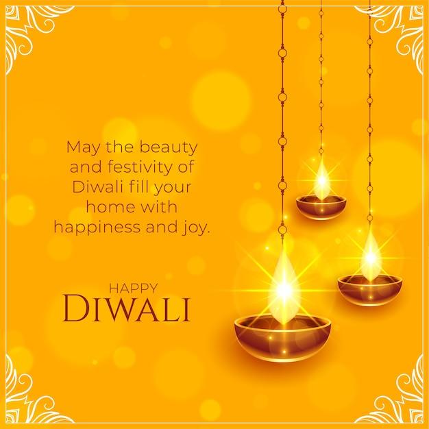 Feliz diwali desea fondo con diya brillante vector gratuito