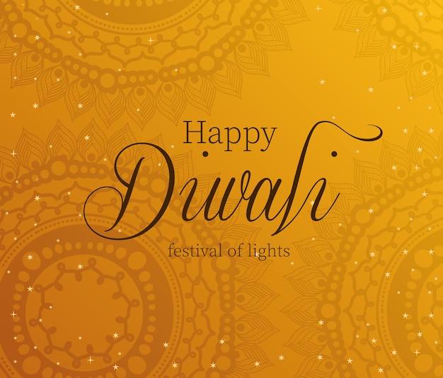 Feliz diwali en naranja con diseño de fondo de mandalas, tema festival de luces. Vector Premium