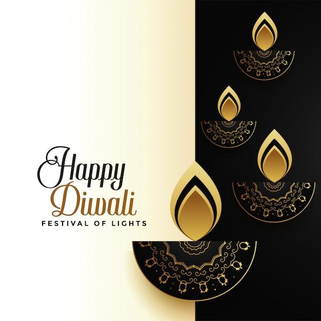 Feliz diwali premium tarjeta de felicitación navideña vector gratuito