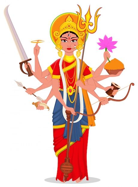 Feliz dussehra. maa durga para el festival hindú. Vector Premium