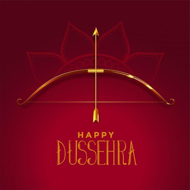 Feliz dusshera hermosa tarjeta de festival con arco dorado y flecha vector gratuito