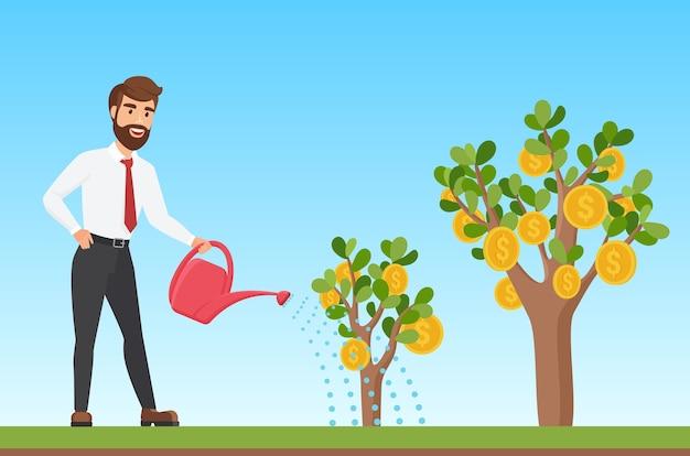 Feliz empresario elegante regando una caricatura de árbol de dinero Vector Premium