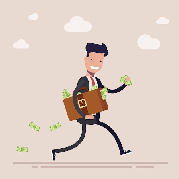 Feliz empresario o gerente se está ejecutando con una maleta llena de dinero. el concepto de robo o soborno. dibujos animados Vector Premium