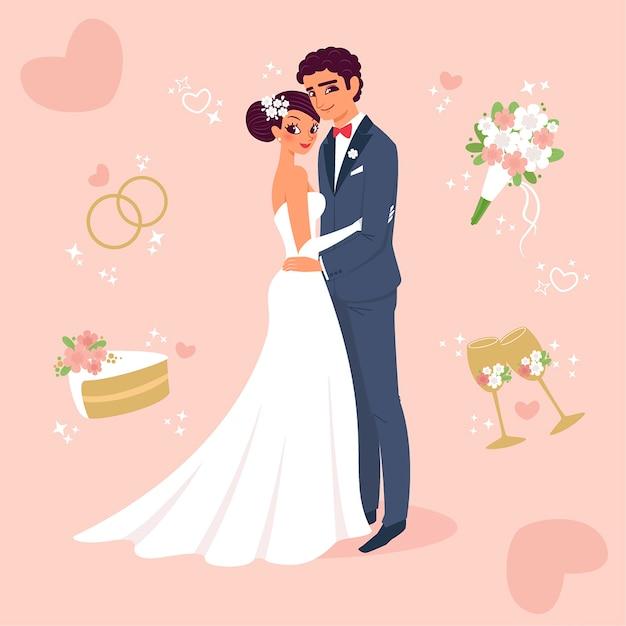 Feliz escoba y novia recién casados vector gratuito