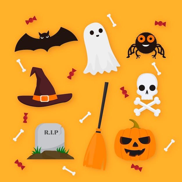 Feliz estilo de colección de elementos de halloween vector gratuito